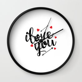 I love you typography Wall Clock