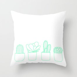 Succulents (Minty Palette) Throw Pillow