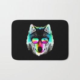 Wolf Rainbow Sunglasses Bath Mat