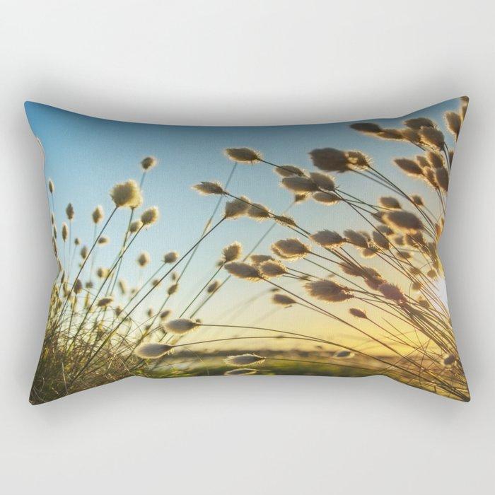 Cotton grass from the high moorland Rectangular Pillow
