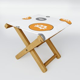 Ethereum and Bitcoin Pattern Folding Stool