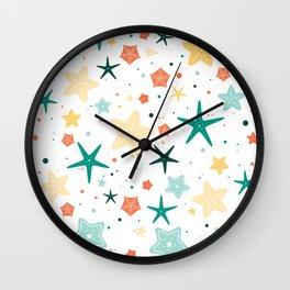 Seastars Pattern - Teal Wall Clock