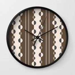 Geometric Circles and Stripes in Brown and Tan Wall Clock
