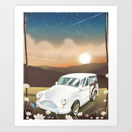 Vintage Car in the sunset. Art Print