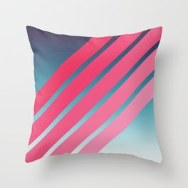 Pink Stripes on Blue Gradient Throw Pillow