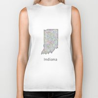 indiana Biker Tanks featuring Indiana map by David Zydd