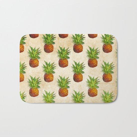 Retro Vintage Aloha Fruit  Pineapple  Pattern on #Society6 Bath Mat