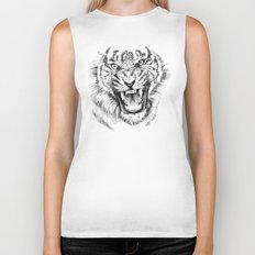 Tiger Portrait Animal Design Biker Tank