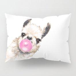 Bubble Gum Sneaky Llama Pillow Sham