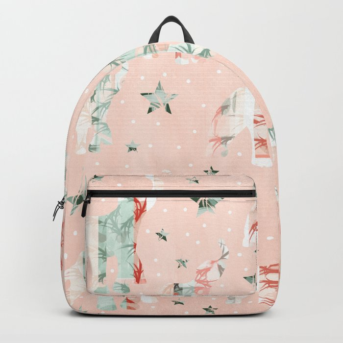 Pastel Tone Elephants Stars Pattern Backpack