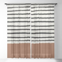 Burnt Orange x Stripes Sheer Curtain