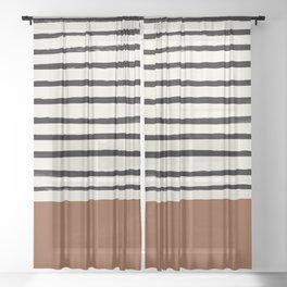Burnt Orange x Stripes Sheer Curtain