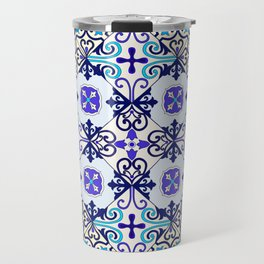 Turquoise Moroccan tile seamless pattern Travel Mug