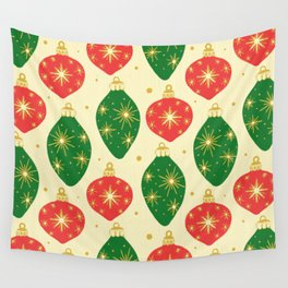 Vintage Festive Hand-painted Christmas Tree Ornaments with Beautiful Acrylic Texture, Green and Red Wall Tapestry