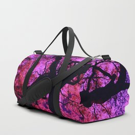 Under the Tree in Pink and Purple Duffle Bag