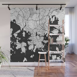 Helsinki Map Gray Wall Mural