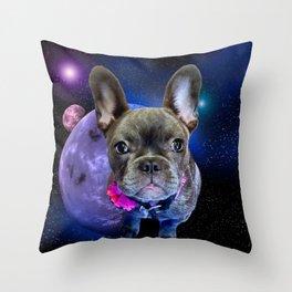 Dog French Bulldog and Galaxy Throw Pillow