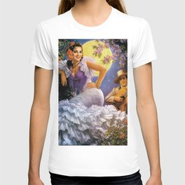 Love Under a Yellow Moon with Guitar & Flamenco Sevillana dress portrait painting T-shirt
