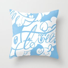 The Doodle Family – inverted version Throw Pillow