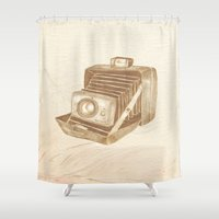 camera Shower Curtains featuring camera by Ana Mendes