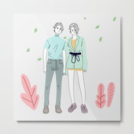 Couples dressed in modern fashion trends are traveling to shopping Metal Print