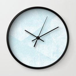 Light Blue and White Geometric Triangles Lino-Textured Print Wall Clock