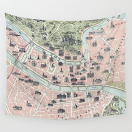Vintage Map of Lyon France (1894) Wall Tapestry