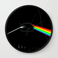 dark side of the moon Wall Clocks featuring Dark Side of the Moon by Nerdiful Art