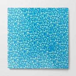 Vintage Flowers Blue Metal Print