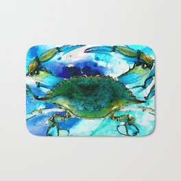 Blue Crab - Abstract Seafood Painting Bath Mat