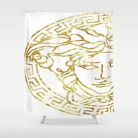 versace Shower Curtains featuring Medusa by InteriorEpiphanies
