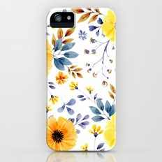 Yellow watercolor flowers iPhone SE Slim Case