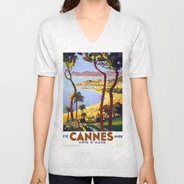 Vintage Cannes Summer Unisex V-Neck