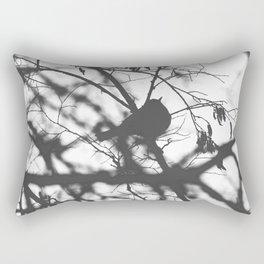 Little Bird Silhouette Black and White Photography Rectangular Pillow