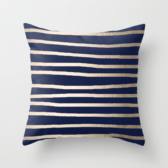 Drawn Stripes White Gold Sands On Nautical Navy Blue Throw Pillow