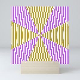 Crossing the lines - the magenta and yellow optical illusion Mini Art Print