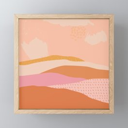 Pink Abstract Mountains - Landscape Framed Mini Art Print