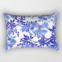 BLUE AND WHITE ROSE LEAF TOILE PATTERN Rectangular Pillow
