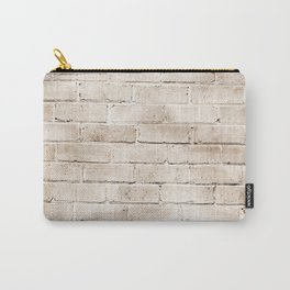 coffee brown distressed painted brick wall ambient decor rustic brick effect Carry-All Pouch