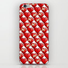broken heart pattern white iPhone Skin