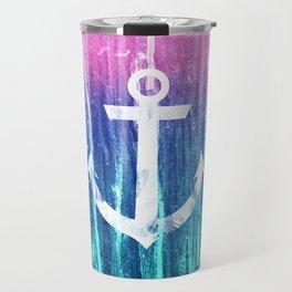 Nautical Anchor Pink Teal Watercolor Stripes Drips Travel Mug