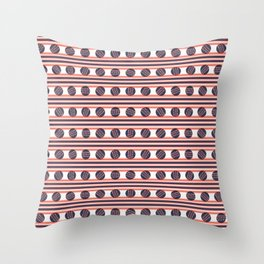 Hand drawn coral blue sketchy lines polka dot stripes Throw Pillow