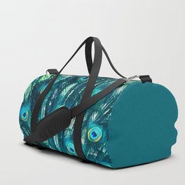 Painted Peacock Feathers Duffle Bag