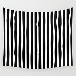 White drawing stripes - black and white  striped pattern Wall Tapestry