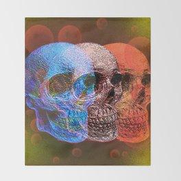 Psychodelic Pop art skulls Throw Blanket