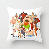 street fighter Throw Pillows featuring Street Fighter by Peerro