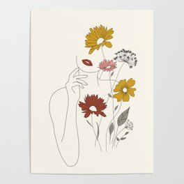 Colorful Thoughts Minimal Line Art Woman with Flowers III Poster
