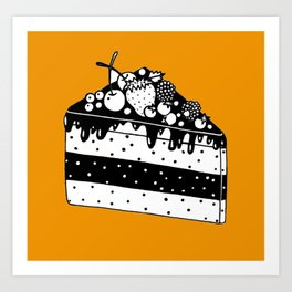 Piece Of Cake With Yellow Background  Art Print