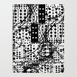 analog synthesizer system - modular black and white Poster