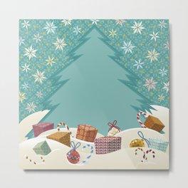 Christmas Time with Gifts Metal Print